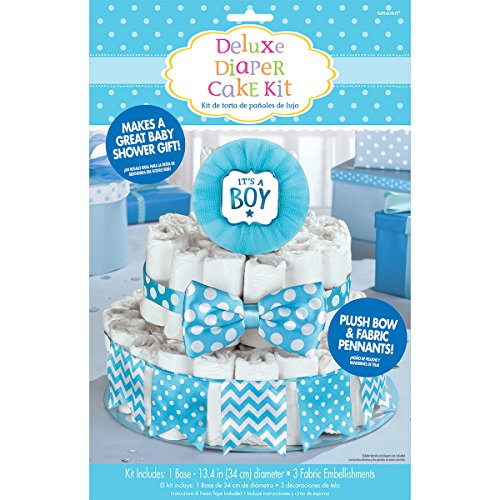 Amscan Party Supplies Blue It's a Boy Baby Shower Diaper Cake Decorating Kit, Multi Color