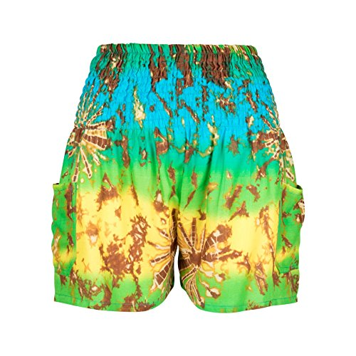 LOFBAZ Casual Boho Shorts for Women Cute Summer Beach High Waisted with Pockets Womens Clothes Yoga Lounge Harem Pants Tie Dye Yellow & Green Small