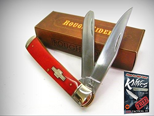(ROUGH RIDER Red Smooth Bone TRAPPER 2 Blade Folder Folding Pocket Knife! 001431 + free eBook by ProTactical'US)