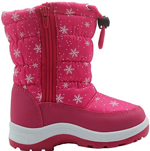 Apakowa Kinder Schneestiefel Warm Gefütterte Winterstiefel Winter Winterschuhe Snowboots für Mädchen Peach