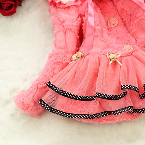 Baby Girls Kids Faux Fur Lace Warm Jacket Winter Coat Snowsuit Outwear Clothing 5T/4-5Years Pink by Dolpind (Image #5)