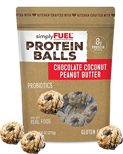 simplyFUEL Chocolate Coconut Peanut Butter Protein Balls | 1 Pack of 12 Balls | Gluten Free | Probiotic + High Protein Whole Food Snack | Certified Organic Ingredients | 8 g Whole Food Protein (Best Tasting Protein Balls)