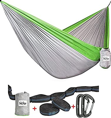 Hammock - Camping Double Hammock- Portable Parachute Nylon Hammock With Tree Straps & Alloy Carabiners For Backpacking Garden, Backyard,Hiking &Traveling
