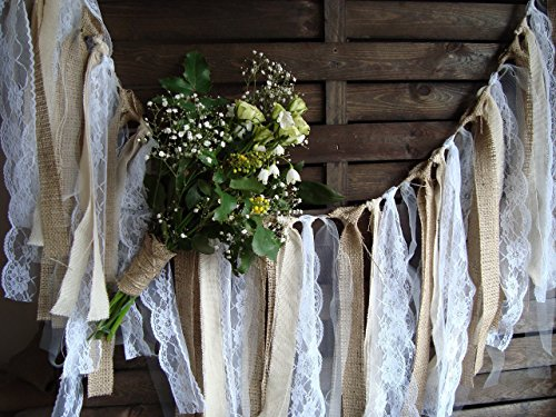 5 ft Rustic lace garland, burlap garland, rag bunting, home decor, Wedding prop , fabric banner, shabby shic garland (Rustic Glam Home Decor)