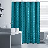 Teal Shower Curtain Uforme Modern Novelty Shower Curtain 72 x 72 Long Bathroom Curtain Liner Fabric Waterproof and Mildew Resistant with Hooks, Solid Color Design with Circles for Shower, Teal