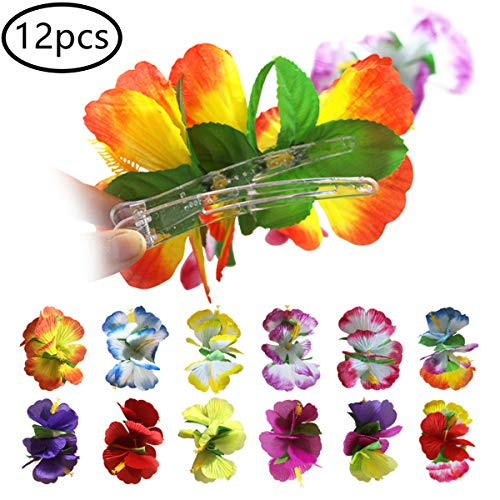 12PCS Hibiscus Flower Hair Clip for Women Girls - Hawaiian Flower Hair Accessories Beach Wedding Party Dance Show Accessories