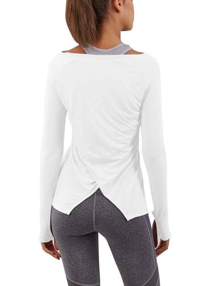 0bfb444b0ba90 Mippo Women s Sexy Long Sleeve Workout Clothes Thumb Hole Shirts Casual Back  Split Tee Top Sports Activewear Solid Basic Athletic Plain Boat Neck Yoga  ...