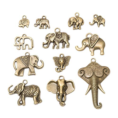 60pcs Mixed Style Vintage Antique Bronze Alloy Animal Elephant &Elephant Head Charms Pendant Jewelry Findings for Jewelry Making Necklace Bracelet DIY (60pcs)
