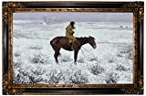 Historic Art Gallery The Herd Boy 1900 by Frederic Remington Framed Canvas Print - Gold & Black Gallery - 19x32