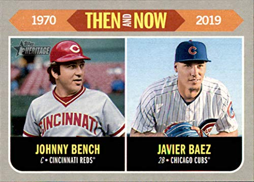 2019 Topps Heritage Then and Now #TN8 Johnny Bench Javy Javier Baez REDS CUBS (Box176MP)