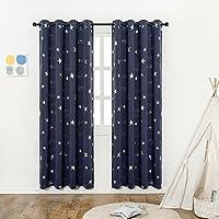 Navy Blue Star Print Kids Room Curtains (2 Panels), Anjee...