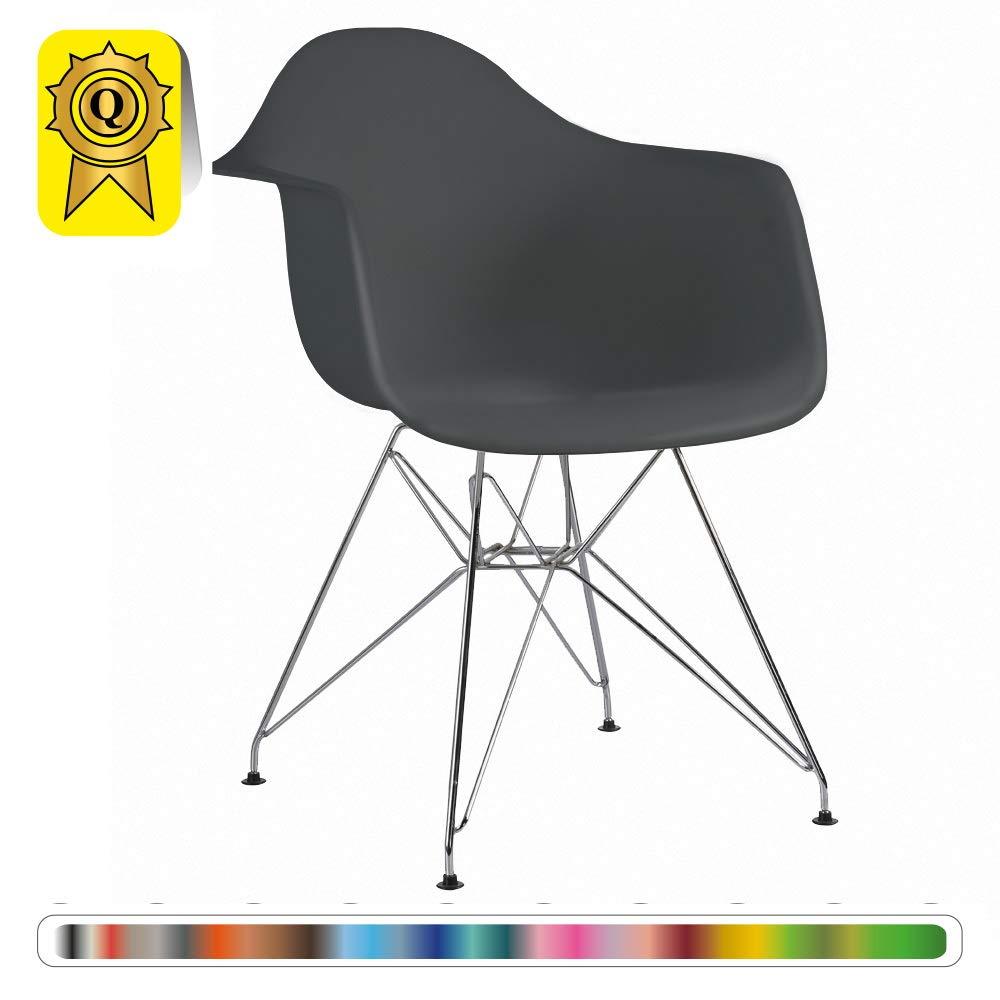 Metallo Cromo .Sede Decopresto Promozione 1 x Poltrona Design Ispirazione scandinava Retro Gambe Arancia DP-DAR-OR-1