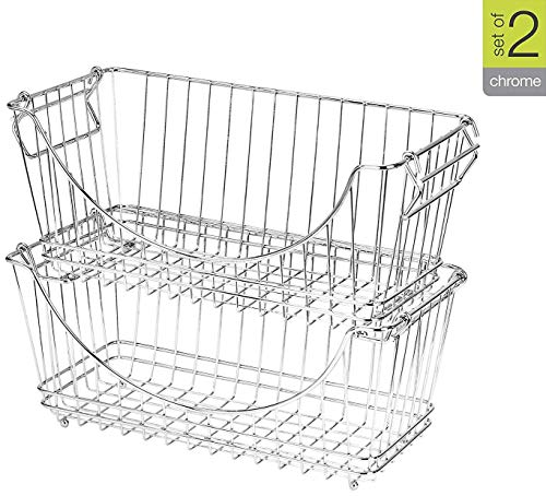 Smart Design Stacking Baskets Organizer w/Handle - Medium - Steel Metal - Food, Fruit, Vegetable Safe - Kitchen (12.63 x 5.5 Inch) [Chrome] (2 Pack) ()