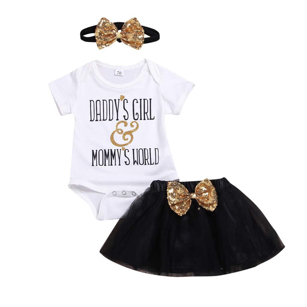 Snakell M/ädchen Kleider Neugeborenes Baby Kleidung M/ädchen Brief gedruckt Strampler T/üll Bogen Pailletten Rock Haarband Outfit Sets Baby Kleider Kurzarm Sommerkleid