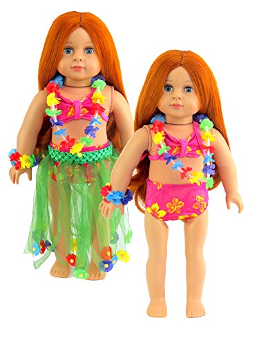 Luau Set Hula Skirt, Flower Necklace and Bracelet Bathing Suit for 18 Inch Doll | Fits 18