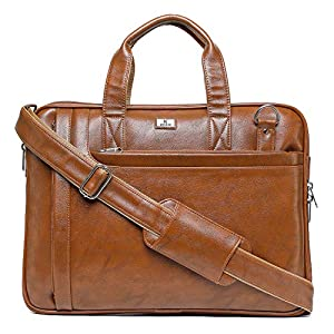 K London 14 inches Caramel Faux Leather Unisex Laptop MacBook Shoulder Messenger Office Bag(1808_Camel)…