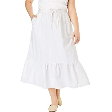 d02a50d782f Woman Within Plus Size Drawstring Chambray Skirt at Amazon Women s Clothing  store