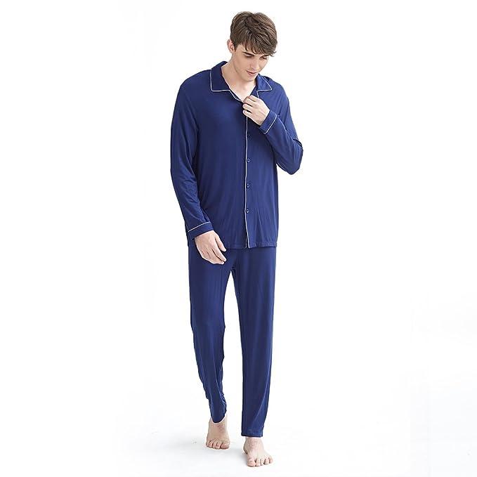 Otoño pijamas de los hombres de/Manga botón moda algodón juego de pijama/ Chaqueta