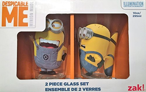 [Zak Designs DESN-R190 Despicable Me 2 Glass Tumbler 2 Piece Gift Box, 10 oz, Multicolor] (Despicable Me Glasses)