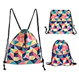 CHIC DIARY Cinch Drawstring Backpack Gym Sack Bag Oxford Travel Dance String Bag for Women/Men/Girls/Boys/Kids (Colorful Plaid) For Sale