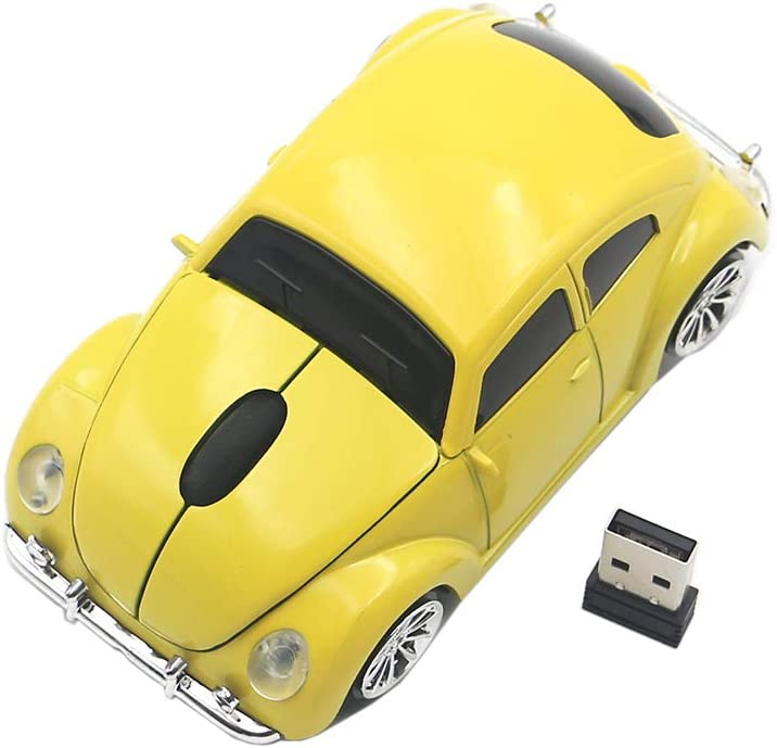 Ai5G for VW Beetle Car Mouse Wireless Mouse Laptop Desktop Computer Mice with 2.4GHz USB Receiver LED Headlight (Yellow)