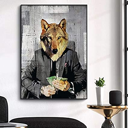 wZUN Lobo Animal Lienzo Pintura Pintura al óleo Pintura y caligrafía Sala de Estar decoración del hogar 60X90 Sin Marco