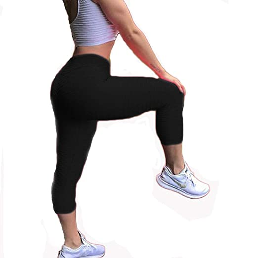 cb3992160b9 CROSS1946 Women s High Waist Booty Ruched Textured Legging Butt Lift Yoga  Pants Skinny Workout Stretch Capris