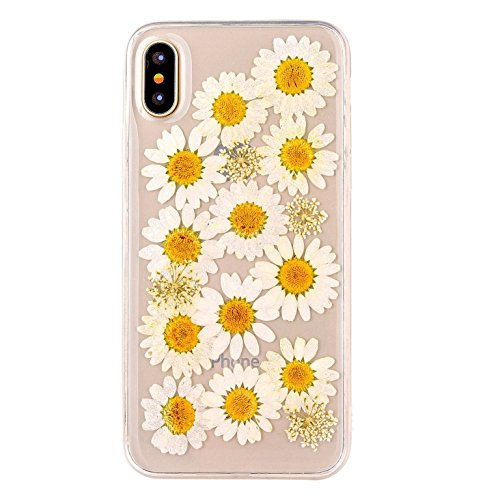 iPhone X case, TPU Case, Handmade Daisy Floral Real Pressed Dried Flowers TPU Gel Clear Rubber Skin Silicone Protective Plastic Soft Back Phone Case Cover By Shopping_Shop2000 (#35)
