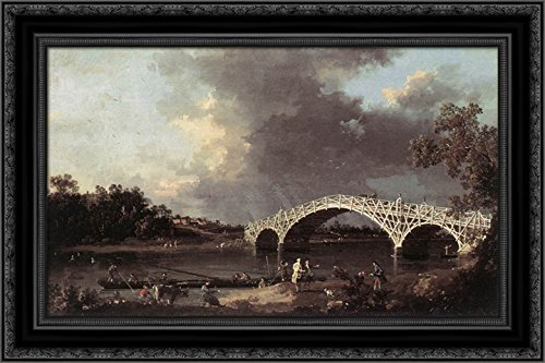 - Old Walton Bridge Over The Thames 24x18 Black Ornate Wood Framed Canvas Art by Canaletto