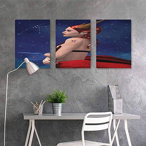 HOMEDD Graffiti Canvas Painting,Astrology Taurus Girl with Horns Maleficent Zodiac Stars Venus Beauty Graphic Design,Office Art Decoration 3 Panels,16x31inchx3pcs Navy Red Brown -