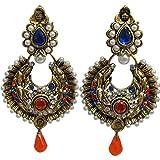 Indian Traditional Ethnic Zumki Meenakari Gold-Toned Dangling Wedding Party Bollywood Long Earrings