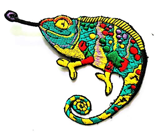 Nipitshop Patches Green Chameleon Lizard Animal Logo Kids Cartoon Iron On Embroidered Applique Patch for Clothes Great as Happy Birthday Gift