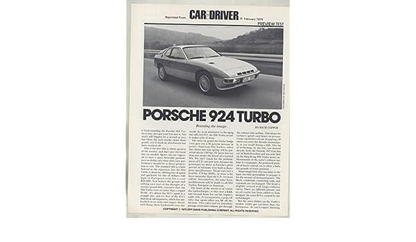 Amazon.com: 1979 Porsche 924 Turbo Road Test Brochure: Entertainment Collectibles