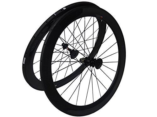 フルカーボン光沢ロードバイク自転車Tubular Wheelsets 60 mmスポークハブfor Shimano 8 / 9 / 10 / 11s   B00N31J8ZG