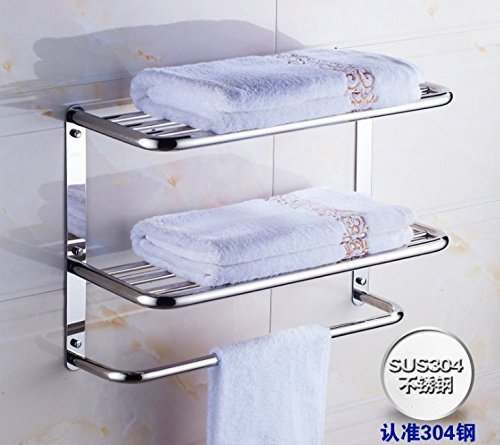 Bathroom Shelves Towel Rack With 3-Tier Bath Storage Hanging Organizer 16-Inch Wall Mount, Stainless Steel Polished Finish