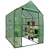 "Mini Walk-in Greenhouse 3 Tier 12 Shelves with PE Cover and Roll-Up Zipper Door, Waterproof Cloche Portable Greenhouse Tent-57"" L x 57"" W x 77"" H, Grow Seeds & Seedlings, Tend Potted Plants"