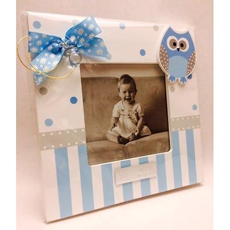 Portafotos PERSONALIZADOS para bautizo de niño marcos azules GRABADOS (pack 10 unidades): Amazon.es: Hogar