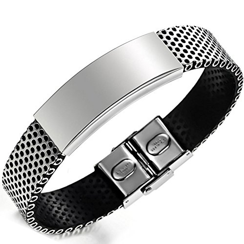 Flongo Fashion Stainless Bracelet Leather