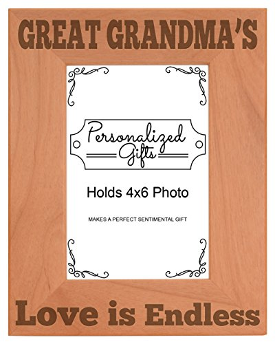 ThisWear Great Grandma's Love Natural Wood Engraved 4x6 Portrait Picture Frame Wood