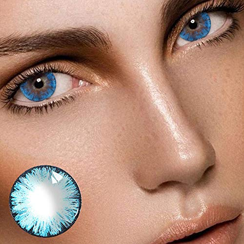 HXS Contacts_Colored for Eyes Women's Makeup Accessories Special Gifts for Girls Women,Decorations for Party Cosplay and Daily Use (2pcs,Blue01)