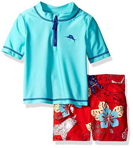Tommy Bahama Baby Boys' Hawaiian Quarter Zip Sleeve Rash Guard Swim Short Set, Lt.Turq, 12M - Tommy Bahama Hawaiian Shirts
