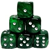 Custom & Unique {Large 20mm} 6 Ct Pack Set of 6 Sided [D6] Square Cube Shape Playing & Game Dice w/ Rounded Corner Edges w/ Agate Stone Swirl Pearl Two Tone Metallic Design [Jade Green & Silver]