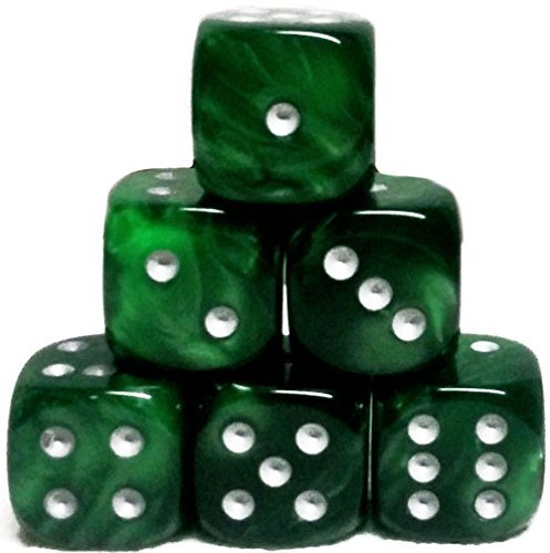 Custom & Unique {Large 20mm} 6 Ct Pack Set of 6 Sided [D6] Square Cube Shape Playing & Game Dice w/ Rounded Corner Edges w/ Agate Stone Swirl Pearl Two Tone Metallic Design [Jade Green & Silver] by mySimple Products