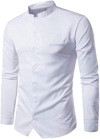 Camisa del Botón Estilo La De De Hombres Los Simple Moda De Los Hombres Camisa Blusa Superior Cuello De Soporte De Manga Larga Slim Fit Business Office Tops: Amazon.es: Ropa y accesorios