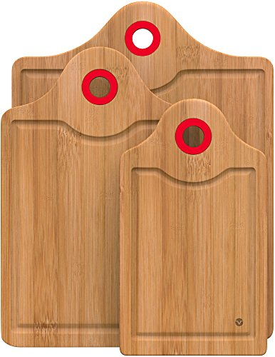 Vremi 3-Piece Bamboo Cutting Board Set - Small and Large Organic Wood Cutting Boards for Meat - Heavy Duty Wooden Board Tools with Silicone Storage Handle for Commercial and Kitchen Sink Use - Red