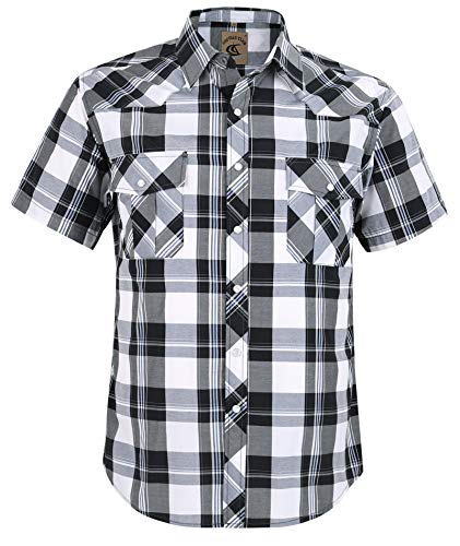 Coevals Club Men's Button Down Plaid Short Sleeve Work Casual Shirt (Black & White #16, XL) ()