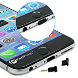 PortPlugs Dust Plugs (5 Sets) - Compatible iPhone 5, SE, 6, 6s, 6s, 6 Plus - Headphone Jack Plugs with SIM Tool – Includes Cleaning Brush (Black)