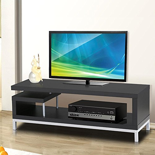 World Pride Black Wood TV Stand Console Table Home Entertainment Center Media Cabinets with Steel Leg for Flat Screens