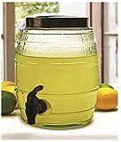 Circleware Barrel Shaped Sun Tea Jar Beverage Dispenser, Fun Party Entertainment Home Kitchen Glassware Drink Water Pitcher for Juice, Beer, Kombucha & Cold Drinks, Lead-Free, 1.3 Gallon, Keg