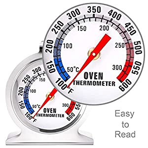 Anvin Oven Thermometers Large Dial Oven Grill Monitoring Cooking Thermometer with Dual-Scale 50-300°C/100-600°F for BBQ Baking, Hooks or Stands Alone Thermometers Durable Steel (Pack of 2) (Color: Oven Thermometers, Tamaño: Oven Thermometers)